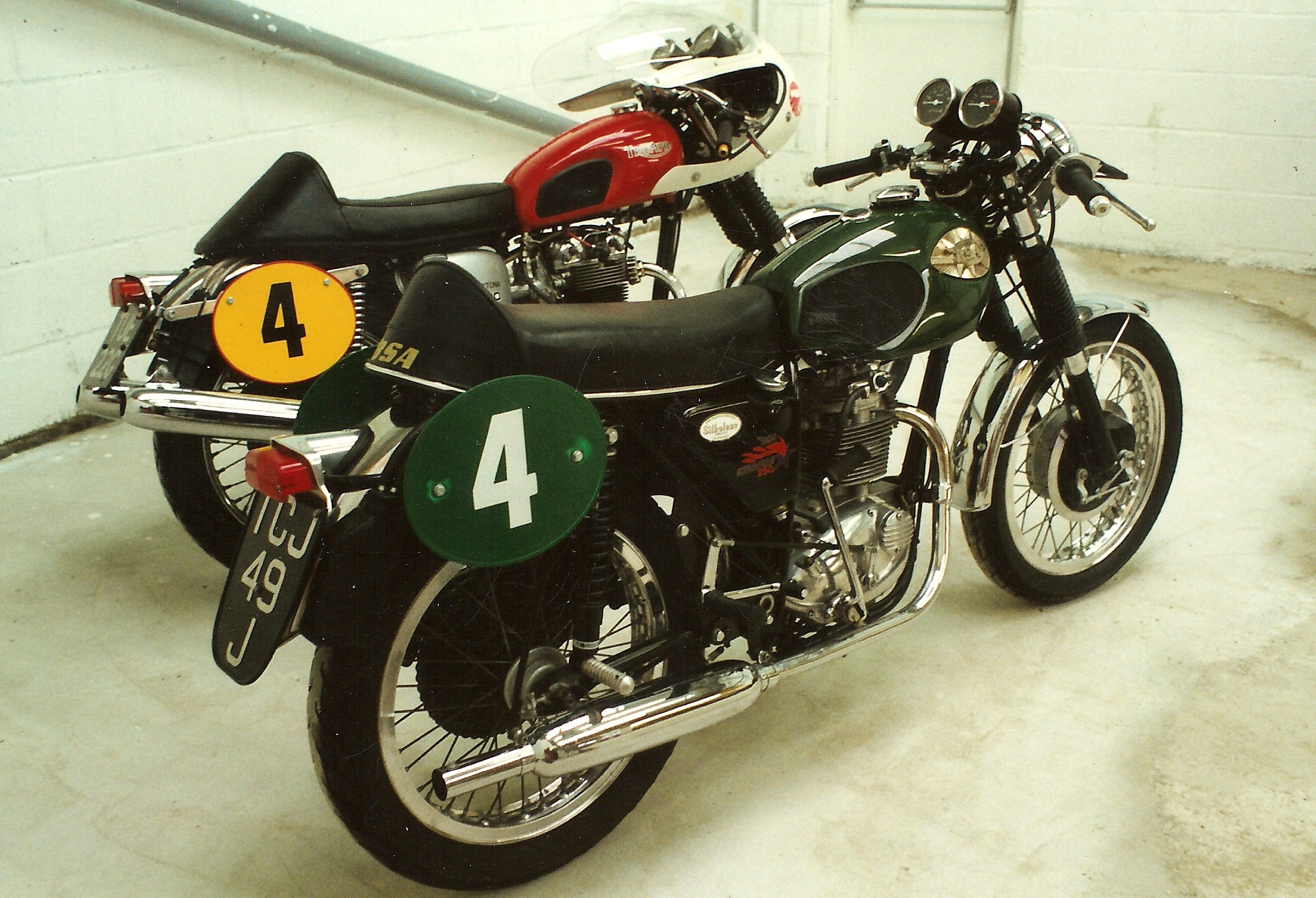 The RJM Team Sara production class racing stable of the 1990's, a chilli hot Daytona and a positivley jalapeno Starfire